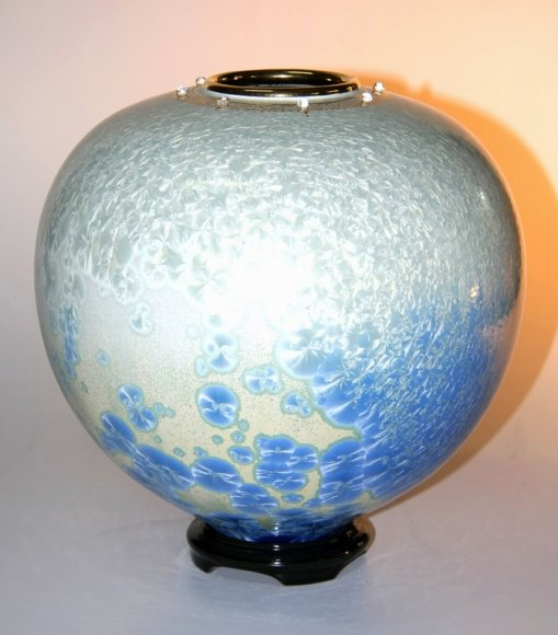 Aquamarine Blossom Vase and Base#7903